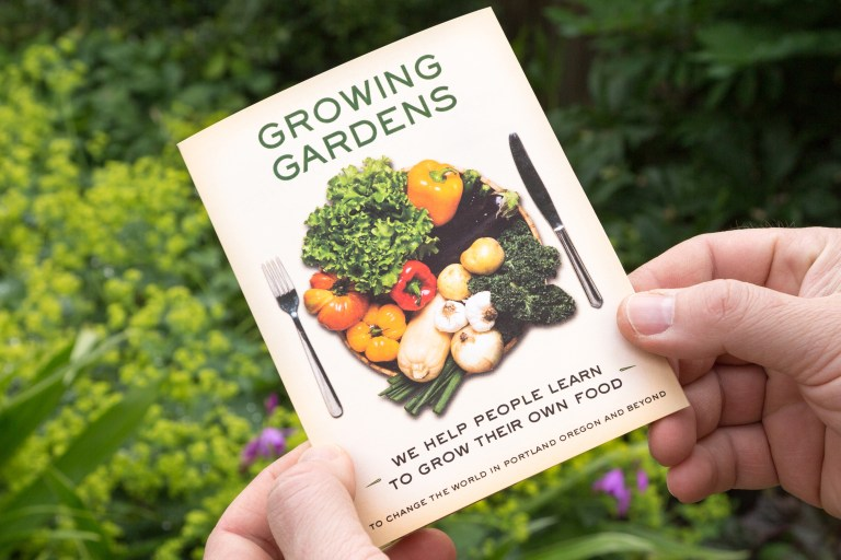 "Growing Gardens ""seed packet"" brochure (cover) 