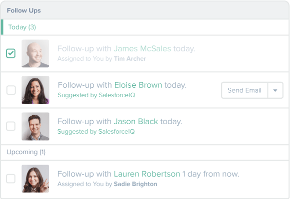 Follow ups generated by SalesforceIQ