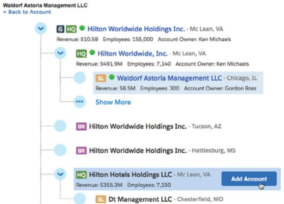 The Data.com Corporate Hierarchy Viewer displays the Dun & Bradstreet family tree. Users can add any location as an account. The tree also shows sizing variables and SFDC account owners.