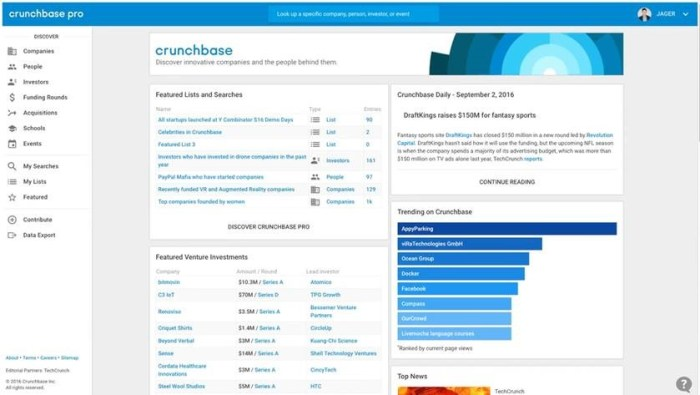 Crunchbase Pro supports an active homepage with Crunchbase editorial content, saved lists and searches, and trend data.