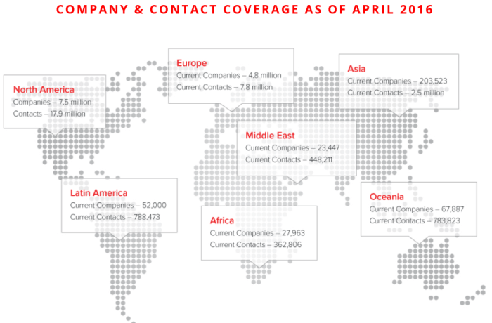 InsideView Coverage as of April 2016.