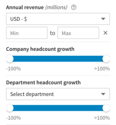 LinkedIn Sales Navigator included a set of new screening filters including headcount growth and headcount growth by department. Revenue data is limited to publics.