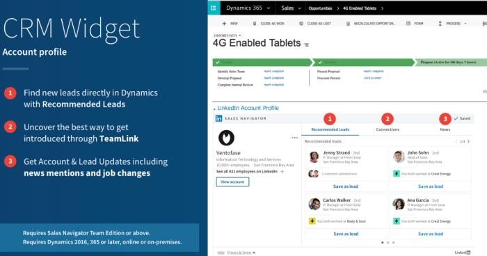 Microsoft Dynamics - LinkedIn Sales Navigator Team Account widget display.