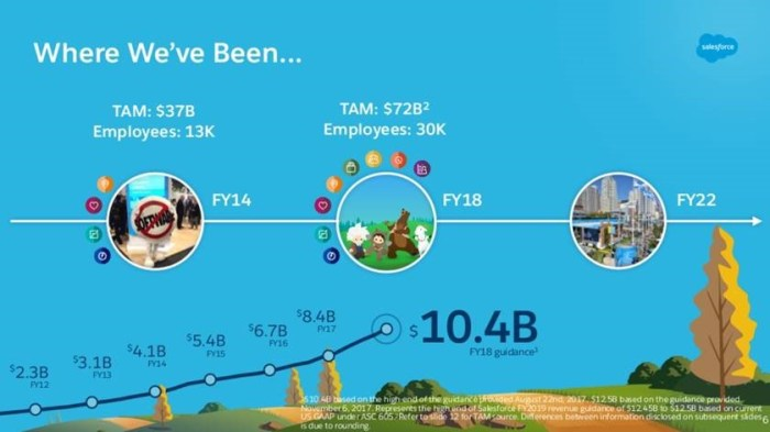 A Salesforce Investor Day slide (Nov 2017) demonstrates the growth in TAM and revenue due to new clouds including commerce, industries, communities, and collaboration. Over the past four years, the firm has also added new platform capabilities including Lightning, Einstein, IoT, Heroku, Analytics, and Trailhead.
