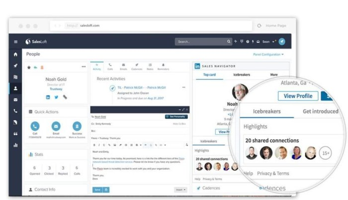 The Sales Navigator Side Panel supports key functionality with SalesLoft including icebreakers, introductions, connections, and profiles.