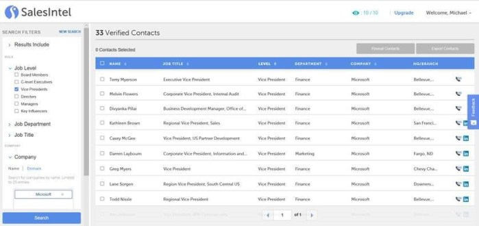 SalesIntel supports prospecting by Job Level, Department, Title, Company, Location, Size, Email, and Contact Name.
