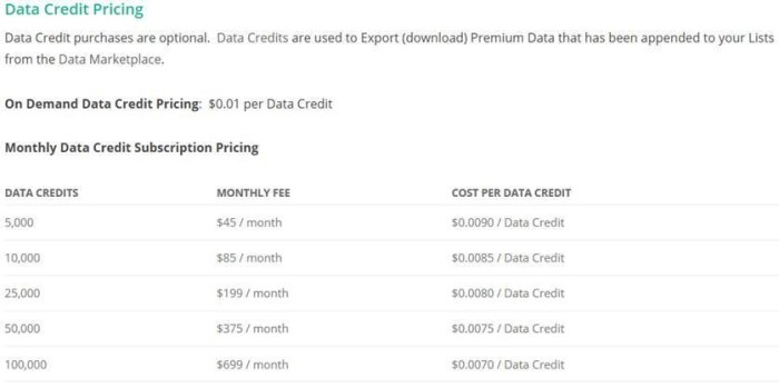 Premium datasets are priced differently with contacts being 10 credits per record and technographics 16 credits per record.