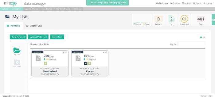 Mmojo Data Manager Portfolio View