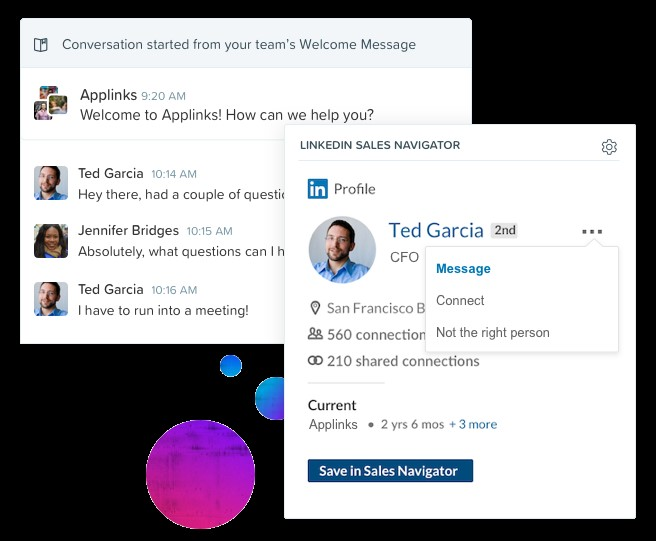 The Drift SNAP partnership provides LinkedIn intelligence to sales reps as they chat with prospects on the Drift platform.