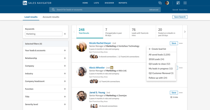 Sales Navigator now supports custom Account and Lead lists.