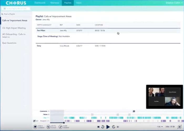 Chorus.ai Meetings are recorded, transcribed, indexed, and analyzed.