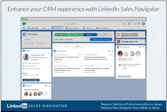 The LinkedIn SNAP AppExchange connector displays LinkedIn content and functionality within Salesforce, but does not sync any company or contact data with SFDC.