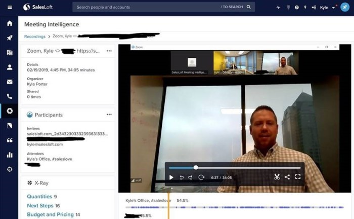 SalesLoft Meeting Intelligence transcribes and indexes Zoom calls to share with stakeholders.