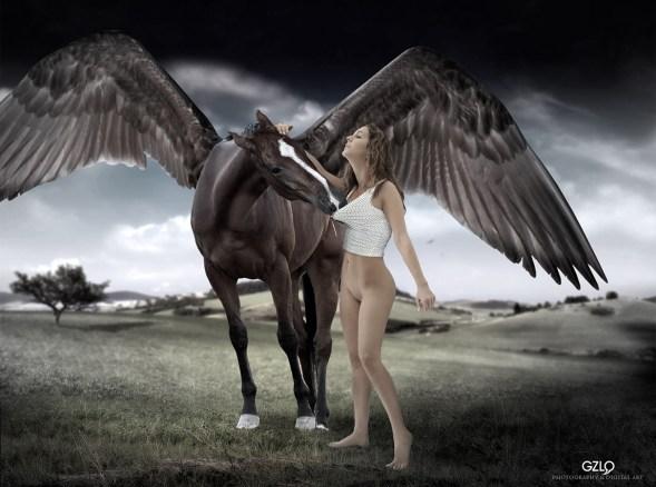 Photo of model: Jose Manchado - Model: Nina - Art Work: Gonzalo Villar