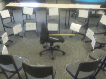 Our chairs have been formed into a circle to represent a clock face, with the hours 1-12 stuck on low down and the minutes from o'clock to five to stuck on higher up