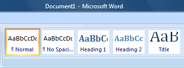 style options from Word
