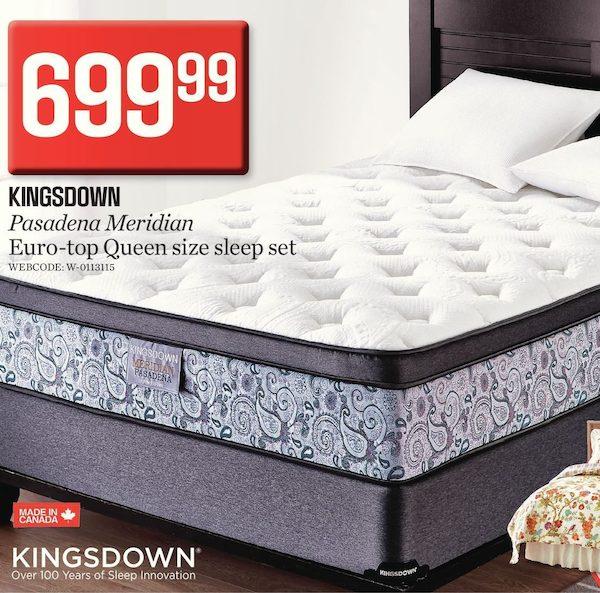 Sears Kingsdown Meridian Pasadena Euro Top Queen Sleep Set Redflagdeals