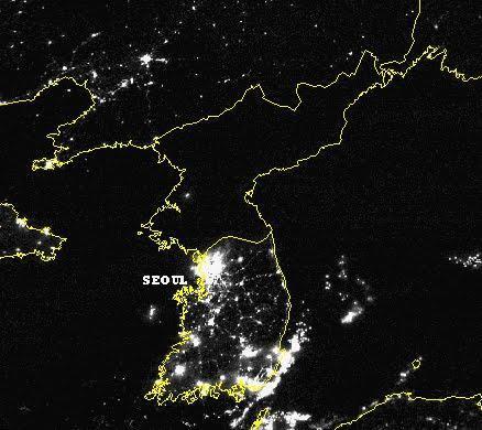 Corée du nord et du sud la nuit