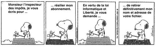Snoopy écrit au fisc