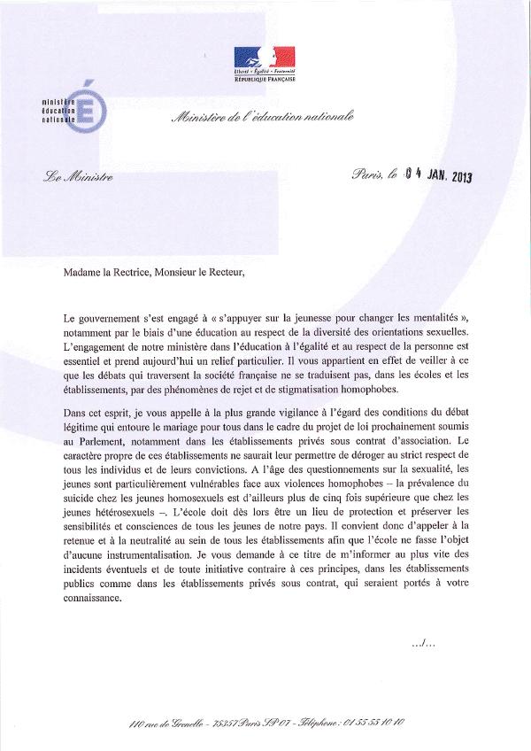 Lettre de Peillon aux Recteurs