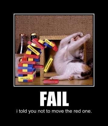 kitty fail jenga blocks demotivator