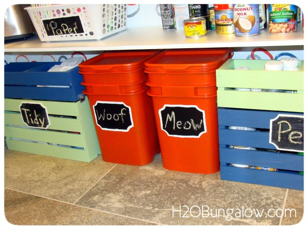 Two tiered crates hide messy clutter