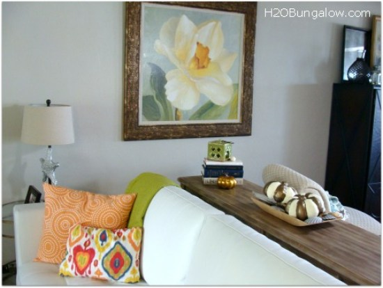 Bronze and creamy white painted papermache pumpkins are a quick fix for a fall vignette www.H2OBungalow.com