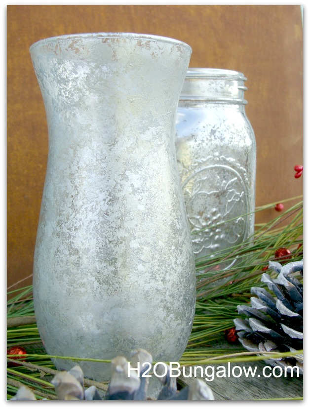 picture of Krylon looking Glass and craft paint mercury glass vase