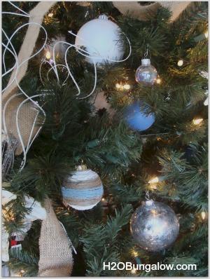 mercury glass ornament on tree