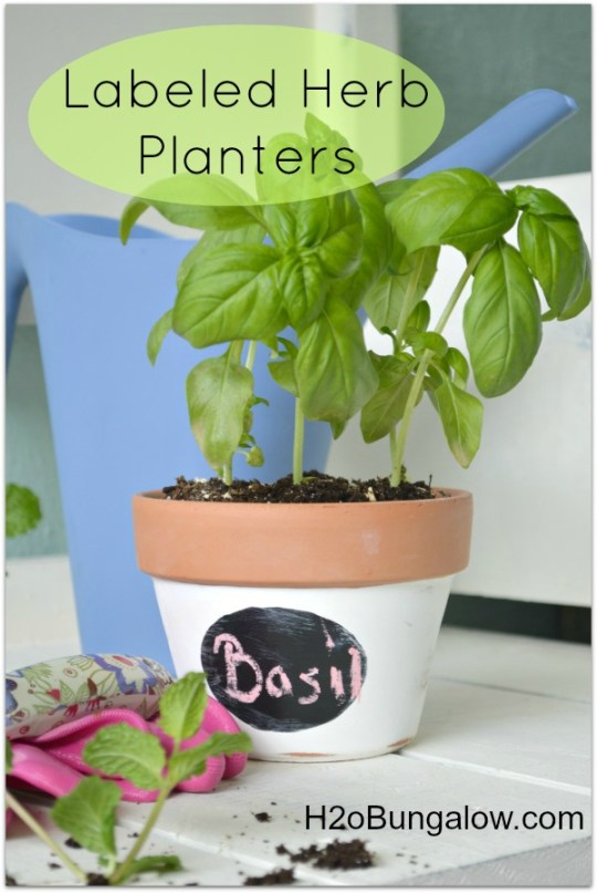 DIY Labeled Herb Planters by H2OBungalow