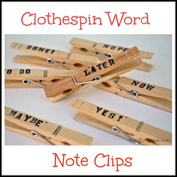 Who said stacks of paper can't be fun too?  These 5 minute craft clothespin note clips will keep stacks of paper organized and they look good too!