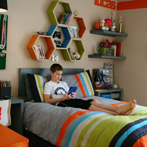 Teen boy room makeover with storage
