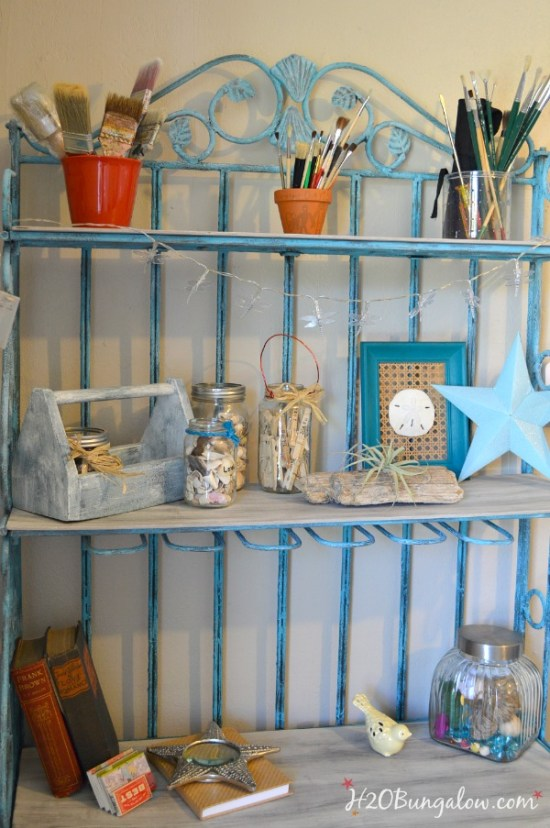 Turquiose-vintage-iron-bakers-rack-with-shelves-H2OBungalow