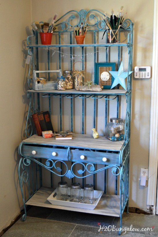 Upcycled-turquiose-vintage-bakers-rack-H2OBungalow