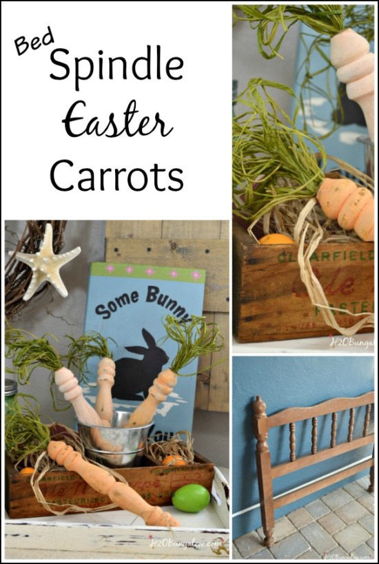 Make spindle Easter carrots out of wood spindles from an old bed frame or chair.  east DIY tutorial for this simple Easter decoration
