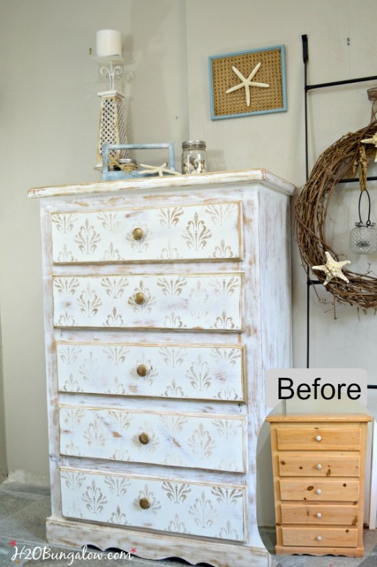 Before-and-after-Gold-and-white-damask-stenciled-Dresser-tutorial-included-in-post-H2OBungalow