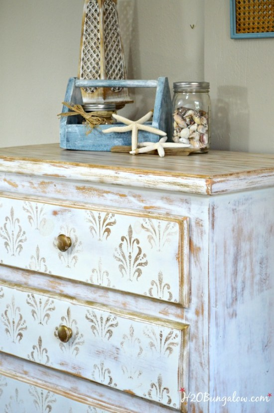 White-and-gold-distressed-dresser-with-damask-stencil-H2OBungalow