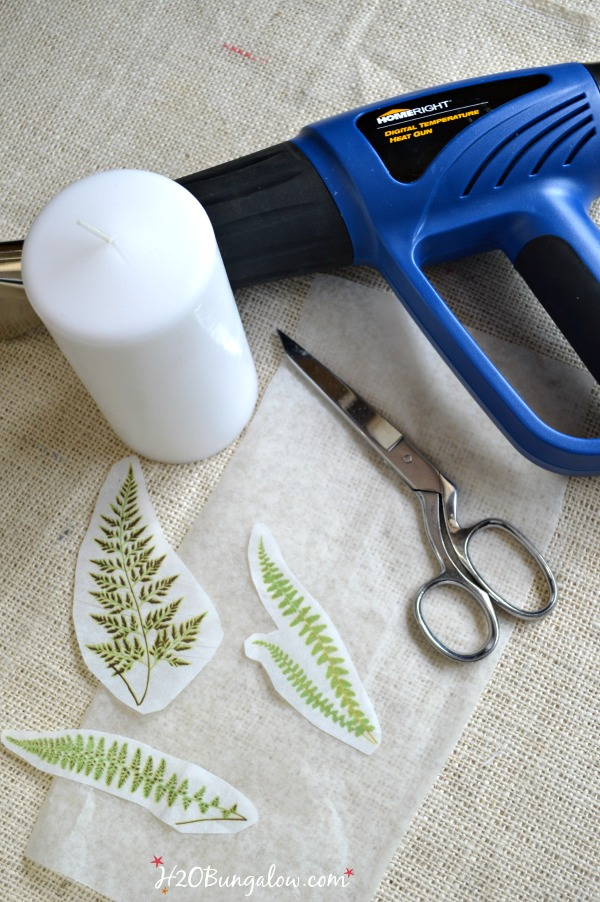 Add a fern image to a candle easily-H2OBungalow