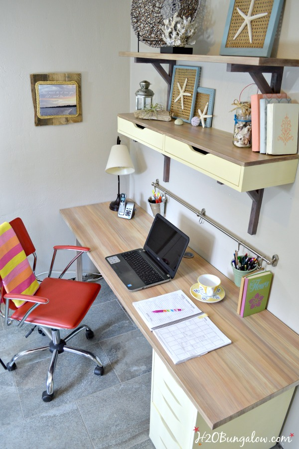 Ikea-melamine-desk-makeover-with DecoArt Chalky Finish Paint.  Tutorial included  to paint faux wood grain top by H2OBungalow
