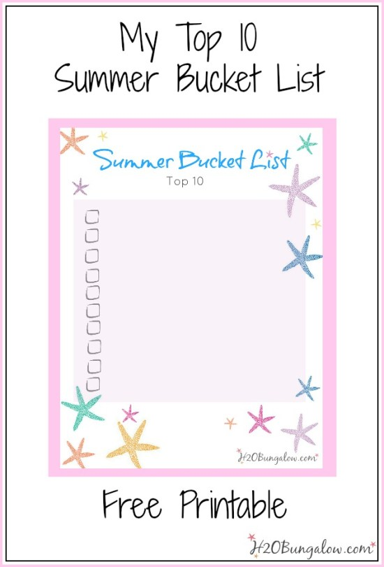 Top 10 summer bucket list with free  printable.  Have fun listing your top 10 summer picks on this colorful coastal themed starfish bucket list.  By H2OBungalow #bucketlist #printable #coastal