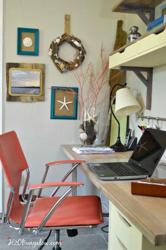 Perfect shade of coral blended from Annie Sloan Chalk Paint on contemporary leather chair. Great coverage without any brush strokes. See leather painting tutorial and paint color recipe in this post - H2OBungalow #paintedfurniture #chalkpaint #modernfurnituremakeover