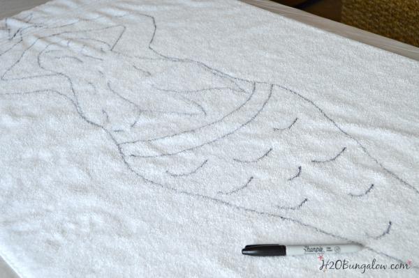 Outline-tie-dye-mermaid-beach-towel-design-H2OBungalow