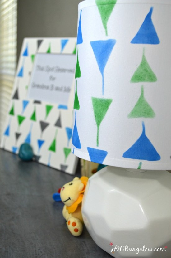 DIY stenciled lampshade and frame, a smart way to accesorize a room inexpensively.  Full tutorial on how to stencil a lampshade by H2OBugalow