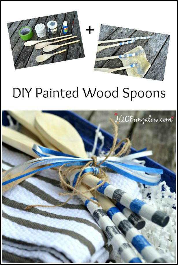 Make these simple DIY painted wood spoons and add to a gift basket for a special finishing touch www.H2OBungalow
