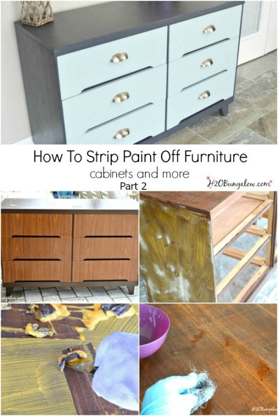 How to strip paint off furniture, cabinets and more will have you ready to strip paint off any size job, big or small. Part 2 covers how to strip paint with lots of useful tips and product recommendations. Part 1 covers a full product list of everything you'll need to strip layers of paint off surfaces. www.H2OBungalow.com
