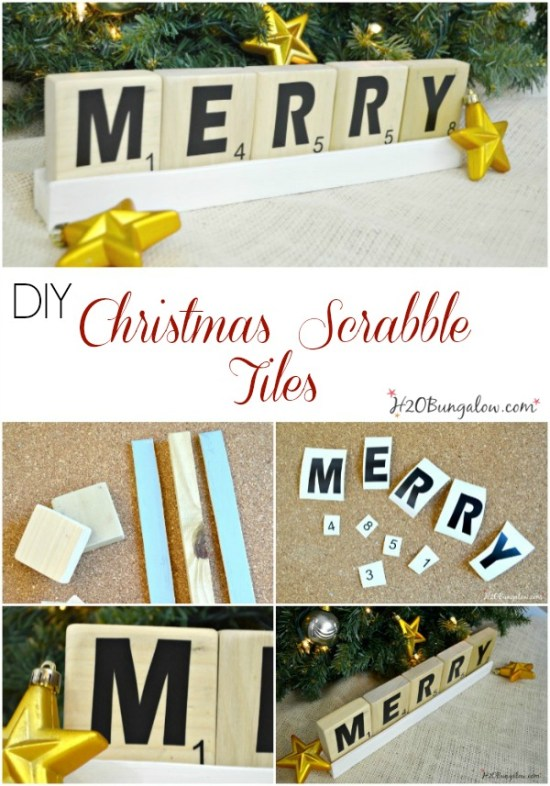 DIY Holiday Scrabble Tiles for the Power Tool Challenge Team Holiday edition Come see this and several more fun holiday gift ideas that you can make with power tools #PowerToolChallengeTeam #giftideas #powertools www.H2OBungalow.com