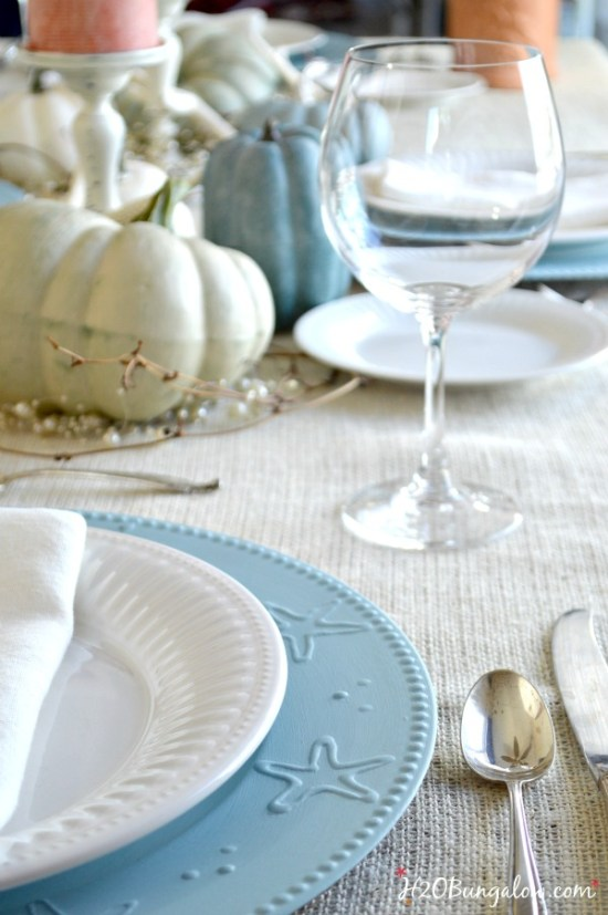 Coastal and 18 other fabulous Thanksgiving tablescapes and centerpieces to inspire and start the creative process for your holiday table this season H2OBungalow.com