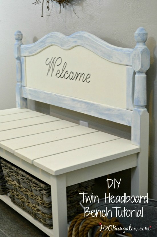 DIY twin headboard bench tutorial and 9 more fantastic earth friendly DIYs for Earth Day H2Obungalow.com