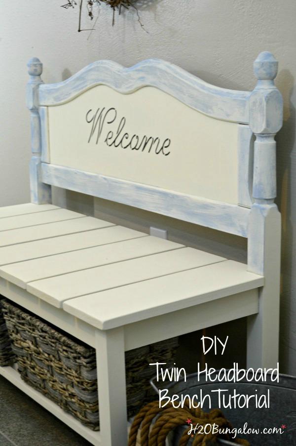 diy twin headboard bench tutorial - h20bungalow