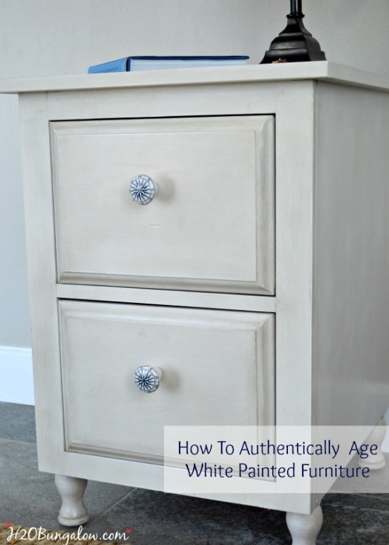 How To Authentically Age White Painted Furniture DIY Tutorial Using Amy Howard Paint Products by H2OBungalow